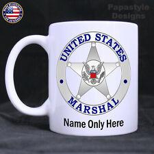 US Marshal Badge Personalized 11oz. Coffee Mug. Made in the USA.