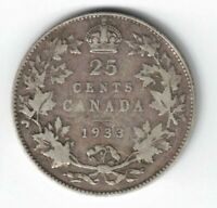 CANADA 1933 TWENTY FIVE CENTS QUARTER KING GEORGE V .800 SILVER CANADIAN COIN