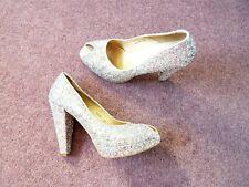 Dune Whirl high heel glitter shoes Silver Peep toe Platform Leather lined UK 5