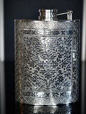 More details for beautifully engraved solid silver persian style  hip flask,
