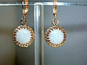 EXQUISITE ANTIQUE DESIGN OPAL & ROSE GOLD OVER 925 STERLING SILVER EARRINGS
