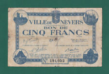 FRANCE-RARE WW2 Billet 5 FRANCS VILLE DE NEVERS 1940-Circulé-Look!