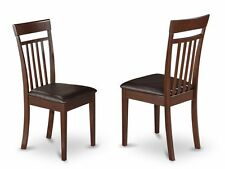 Set of 2 Capri dinette kitchen dining chairs w/ leather seat mahogany East West