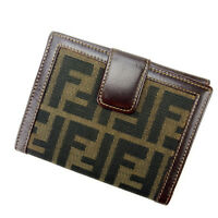Fendi Wallet Purse Folding wallet Zucca Brown Black Woman Authentic Used Y1024