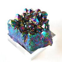 Crystal Natural Aura Amethyst Rainbow Titanium Specimen Cluster Stone Quartz