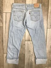 Levis 509 Low Slouch Cuff Crop Stretch Jeans Womens Sz 5 Button Fly Blue Denim