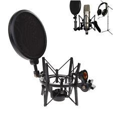 Mic Microphone Shock Mount Stand Studio Holder Integrated Pop Filter Adjustable