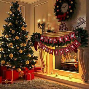 Merry Christmas Banner Flag Burlap Plaid Hanging Ornaments Xmas Party Decor Home