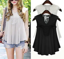 Fashion Women Summer Lace Vest Top Sleeveless Casual Tank Blouse Tops T-Shirt XL