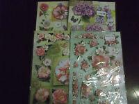 4 Stickerbögen mit  Rosen,HortensienMohnblumen