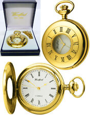 Woodford Half Hunter Pocket Watch 17 Jewels Gold Plated with Free Engraving 1079