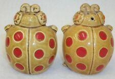 Vintage Japan Red Spotted Lady Bugs Salt and Pepper Shaker Set