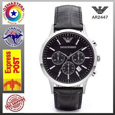 Emporio Armani AR2447 Leather Band Black Dial Chronograph Men's Watch Brand New