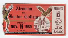 1960 CLEMSON Boston College NCAA Football TICKET Stub RARE Tigers EAGLES Alumni