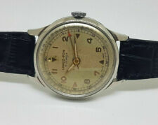 RARE USED 60'S LANCO-FON ALARM SILVER DIAL MANUAL WIND MAN'S WATCH