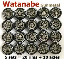 1/64 rubber tires Watanabe gunmetal rim fit Hot Wheels Mazda diecast - 5 sets C