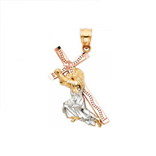 14K Solid Yellow Gold Jesus Carrying Cross Pendant -Christ Crucifix Polish Charm