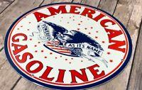 """VINTAGE AMERICAN GASOLINE USA EAGLE 12"""" ADVERTISING PORCELAIN METAL GAS OIL SIGN"""