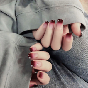 Wine Red Gradient Long Square Fake Nails French Full Press On Nails with Glue