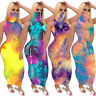 Womens Casual Summer Turtleneck Pull-Up Face Mask Tie-Dye Pattern Bodycon Dress