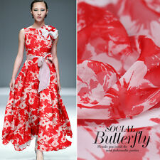 100% PURE SILK CHIFFON FABRIC RED WITH FLORAL PRINT BY THE METER S407