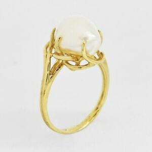 10k Yellow Gold Estate Open Work Mabe Pearl Ring Size 5.75