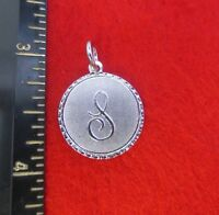 14KT WHITE GOLD EP LETTER S ROUND INITIAL DISC CHARM WAS $8.95