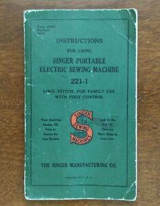 1941 Original Singer Portable Electric Sewing Machine Featherweight 221-1 manual