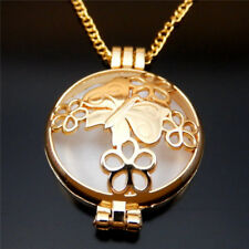 70cm Golden Alloy Hollowed Butterfly Over Flower Locket Charm Diffuser Necklace