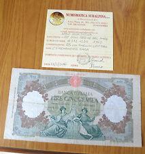 BANCONOTA LIRE 5000 REGINE DEL MARE 1963 certificata BB R4 SERIE SOSTITUTIVA W