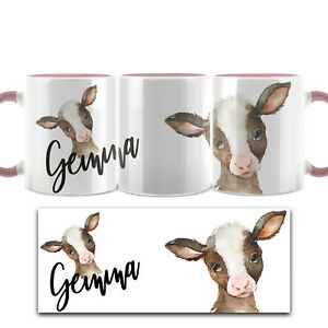 Personalised Mug, Customised with Name, Flower/Bunny/Cow/Animal Pink Cup (11oz)