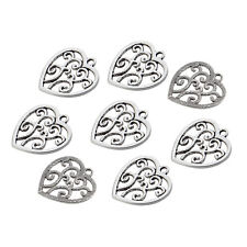 10pcs DIY Hollow Heart Beads Charms Tibetan Silver Alloy Pendant Necklace Making