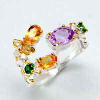 Natural Amethyst Citrine Yellow gold Solid 925 Sterling Silver Ring / RVS100