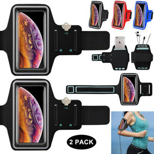 2 Pack Cell Phone Armband Sport Running Exercise Gym Phone Holder Card Slot Case
