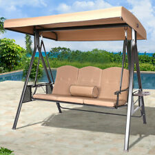 Porch Swing Hammock Bench Lounge Chair Steel 3-seat Outdoor w/Canopy Home Garden