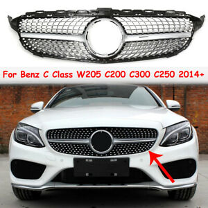 AMG STYLE DIAMOND SILVER FRONT GRILL GRILLE FOR MERCEDES BENZ C CLASS W204 14-18