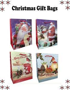 2 x Christmas Gift Bag Medium Present Candy Xmas Bags Different design Santa