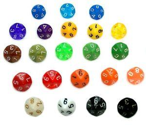 10-Seitige Würfel mit eingravierten Zahlen v. 0-9, Rot/Gelb/Orange/Grün/Blau/W10