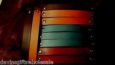 """#BR8 LOT OF TEN 1""""  DYED LEATHER  BRACELET  BLANKS ROUNDED ENDS"""