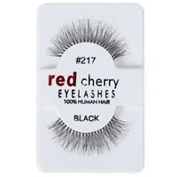 Red Lashes Handmade False Human Hair Eyelashes Makeup Eye Cherry·Adhesives- Y4C3