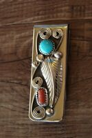 Navajo Indian Jewelry Turquoise Coral Sterling Silver Leaf Money Clip! Wilbur...