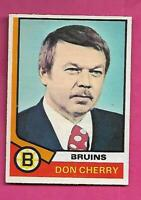 1974-75 OPC # 161 BRUINS DON CHERRY COACH  ROOKIE  CARD (INV# C8277)