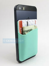 TURQUOISE SILICONE POCKET ID CARD/MONEY HOLDER PHONES/CASES STICKY REAR ADHESIVE