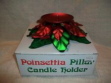 Vintage Dept 56 Metal Poinsettia Pillar Candle Holder Christmas