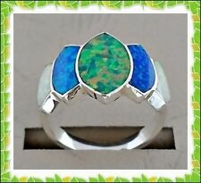 ENCHANTING HANDCRAFTED WHITE/GREEN /BLUE OPAL INLAY .925 SILVER RING SIZE-8