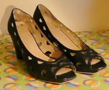 SACHELLE WOMEN'S CUTOUT PUMPS BLACK LEATHER SIZE 7.5 M / 38 Sale!