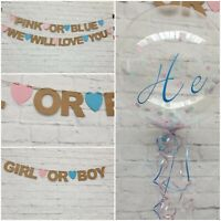 Baby Shower BANNER boy girl pink OR blue decorations bunting GENDER REVEAL Kraft