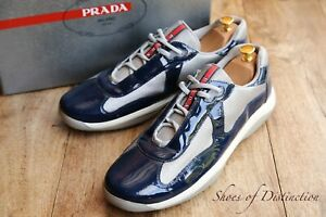 Prada America Cup Blue Patent Leather Canvas Shoes Trainers Sneakers UK 11 US 12