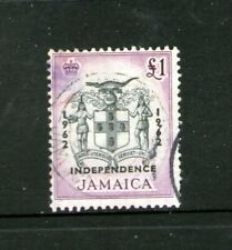 JAMAICA HIGH 1 POUND VALUE (OVERPRINTED INDEPENDENCE 1962) USED-HINGED