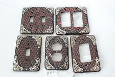 Western Cowboy Rustic Woven Leather Look Silver Accent Switch Plate Power Outlet